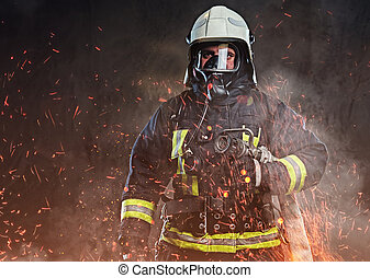 vestito, studio., pompiere, uniforme