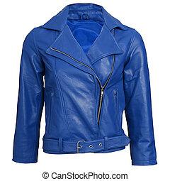 veston bleu, cuir