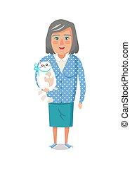 veston bleu, femme, chouchou, chat, personnes agées, grand-mère