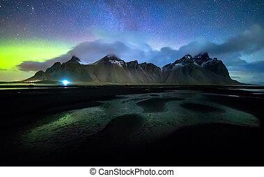 Vestrahorn mountain with Aurora borealis, Iceland