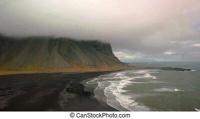 Vestrahorn, Stokksnes, Iceland, aerial footage