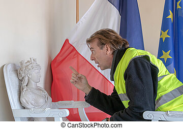 "vests"", symbole, marianne, france, jaunes)threatening,..."
