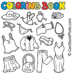 vestuário, coloração, 2, livro