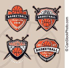 vestuário, logotipo, basquetebol, desenho