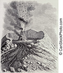 Vesuvius eruption - Antique illustration of the crater of...