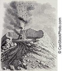 Vesuvius eruption - Antique illustration of the crater of...