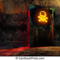 veszély, ajtó
