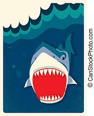 veszély, cápa, ábra, vektor