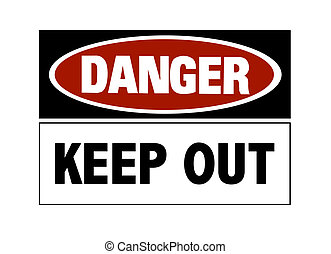 veszély cégtábla, -, kirekeszt