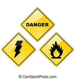 veszély, cégtábla