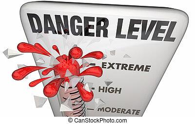 veszély, egyszintű, figyelmeztetés, krízis, szükséghelyzet, lázmérő, 3, ábra