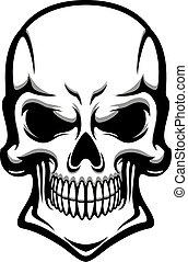 veszély, emberi koponya, vigyorog, hátborzongató