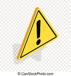 veszély, felszólít cégtábla, isometric, ikon