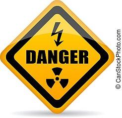 veszély, figyelmeztetés, vektor, aláír