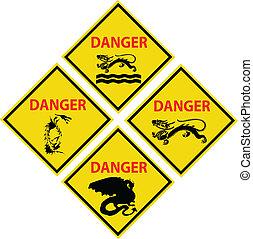 veszély, sárkány, aláír