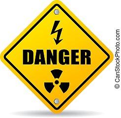 veszély, sáv, figyelmeztet, vektor, aláír