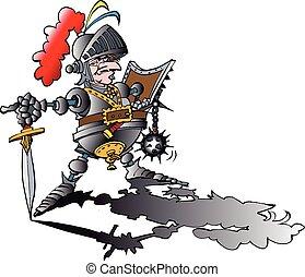 veszélyes, büszke, lovag, noha, felfegyverez