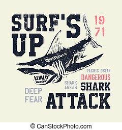 veszélyes, cápa, ábra, noha, typo
