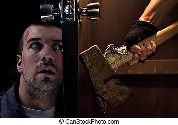 veszélyes, gyilkos, képben látható, a, más szegély, közül, a, ajtó