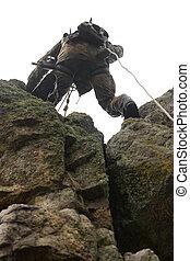 veszélyes, hadi, alpinism