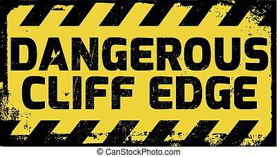 veszélyes, szirt, él, aláír