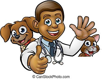 Vet Cartoon Character Pointing Sign