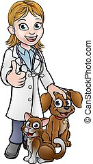 Vet Cartoon Character with Pet Cat and Dog