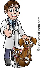 A cartoon vet character with pet cat and dog animals giving a thumbs up