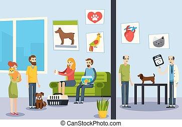 Vet Clinic Flat Orthogonal Poster