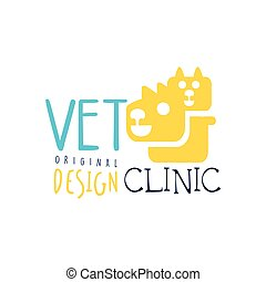 Vet clinic logo template original design, colorful badge with cat and dog hand drawn vector Illustration