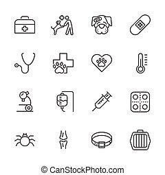 vet clinic, Simple thin line veterinary medicine icons set. Vector icon design