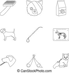 Vet clinic. Treatment of sick animals. Hospital for animals.Vet clinic icon in set collection on outline style vector symbol stock illustration.