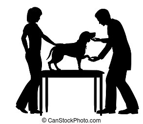 Editable vector silhouette of a vet examining a pet dog with figures as separate objects
