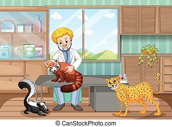 Vet healing wild animals in the clinic illustration