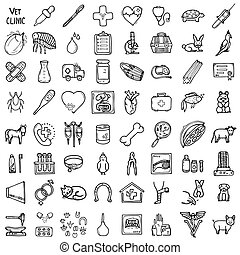 Vet icons set, hand-made style, vector illustration
