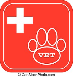 Vet symbol on red background