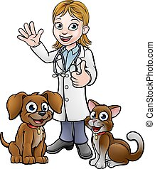 Vet with Pet Cat and Dog Cartoon Characters - A vet cartoon...