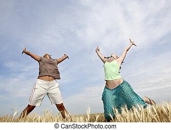 vete, flickor, två, hoppning, field., lycklig