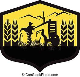 vete lantgård, retro, hjälmbuske, traktor, skörda