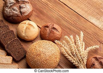 vete, trä, 2, frisk, bord, bread