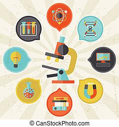 vetenskap, begrepp, info, grafisk, in, lägenhet, design,...