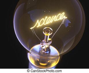 vetenskap, glödande, ljus kula