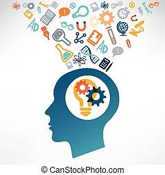 vetenskap, huvud, icons., upptäcka, mänsklig, vetenskaplig, begrepp