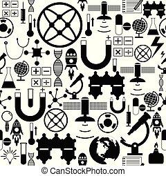 vetenskap, icon., seamless, fond mönstra