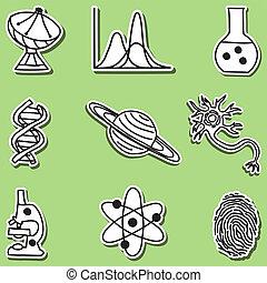 vetenskap, klistermärken, -, illustration, ikonen