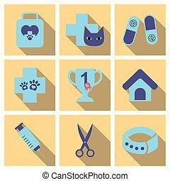 vetenskap, lägenhet, sätta, veterinär, ikonen