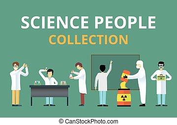 vetenskap, laboratorium, utstrålning, biologi, vektor, folk