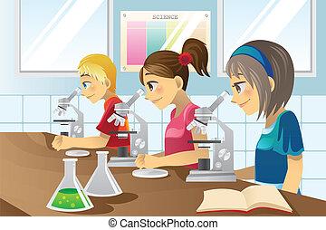vetenskap, lurar, labb