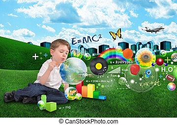 vetenskap, matematik, konst, och, musik, bubbla, pojke