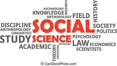 vetenskap, -, moln, ord, social